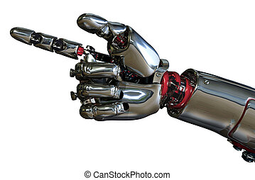 Robot Hand Pointing - 3D render of a robot hand pointing.
