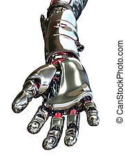 Robot Hand Reaching Forward - 3D render featuring a robotic...