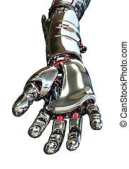Robot Hand Reaching Forward - 3D render featuring a robotic...