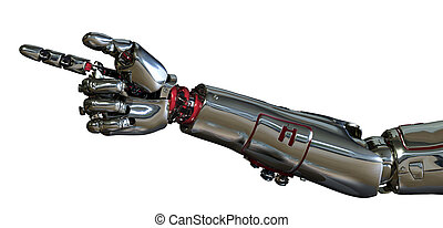 Robot Arm Pointing - 3D render of a robot arm pointing.