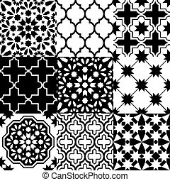 Moroccan tiles design, seamless black pattern collections