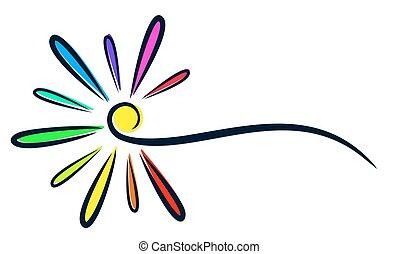 Logo of stylized flower. - Logo of a stylized flower with...