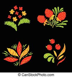 Bright embroidery elements set with flowers, berries and...