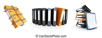 Office folders, Protect folder on a white background 3D...