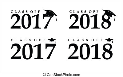 Text with graduation hat set sign illustration