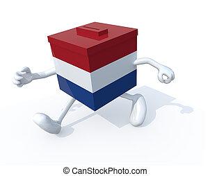 Dutch election ballot box whit arms, legs runnning away, 3d...