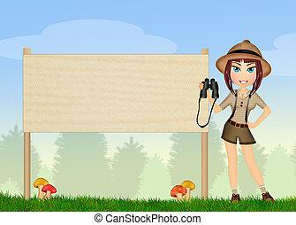 binóculos, guarda-florestal