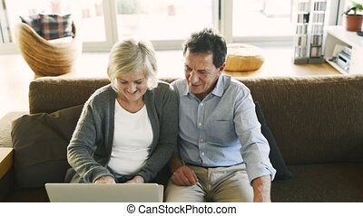 Senior couple with laptop sitting on a couch in living room