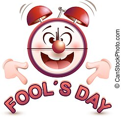 Fools day time. Fun clock show lettering text. Isolated on...