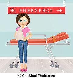 girl in emergency room - illustration of girl in emergency...