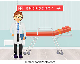 doctor in the emergency room - illustration of doctor in the...