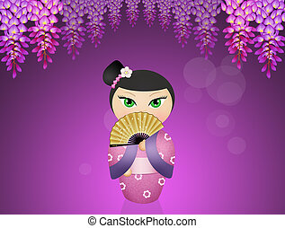 Kokeshi Geisha doll - illustration of Kokeshi Geisha doll