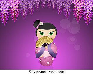 muñeca,  kokeshi,  geisha
