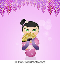 Kokeshi dolls - illustration of Kokeshi dolls