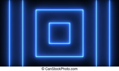 Abstract background with neon squares. Seamless loop