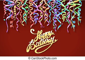 happy birthday sign design background. Birthday background with colorful confetti vector
