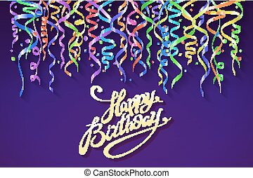 Birthday greeting card with place for your text - flat design style. Party background with horn. Birthday with colorful confetti vector
