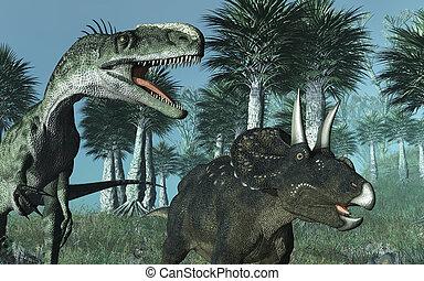 Pré-histórico, cena, Dinossauros