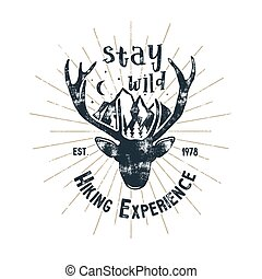 Hand drawn vintage camping badge and hiking label with hiking design elements and typography - stay wild. Vector design