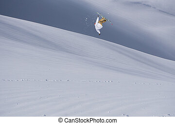 Flying skier on mountains. Extreme winter sport. - Flying...