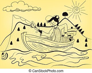 fisherman - Cartoon illustration of a fisherman on his...