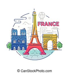 France - modern vector line travel illustration. Have a...