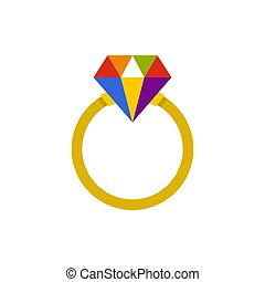 Ring LGBT icon, flat style - Ring LGBT icon in flat style...