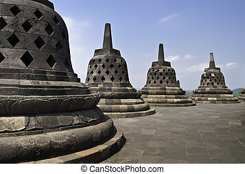 Top of Borobudur temple in Yogyakarta, Indonesia
