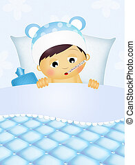 baby sick in the bed