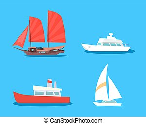 Set of  Sailing And Motor Vessels Vector Icons