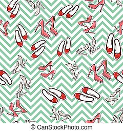 Seamless Pattern of Shoes. Fashionable Footwear.