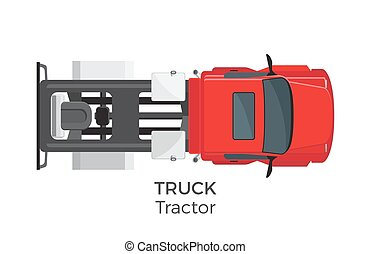 Tractor Truck Top View Flat Vector Icon - Tractor truck top...