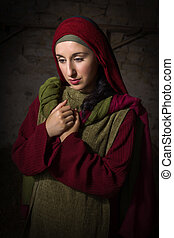 Portrait of Mary of Magdalene - Portrait of a model in...