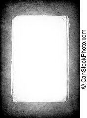 Grunge background with isolated paper sheet bundle in center for copyspace. Useful as alpha channel.