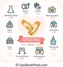 Wedding Planner Concept with Shiny Gold Rings. Vector