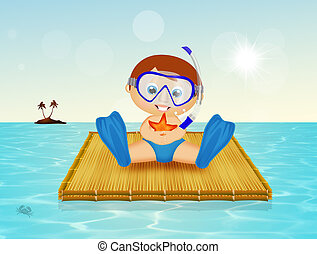 baby with scuba mask on raft - illustration of baby with...