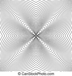 Radial lines with deformation effect. Radiating distorted...