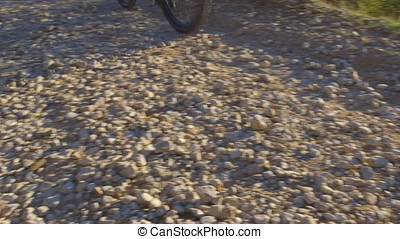 Mountain Biking - Sequence of four shots of a mountain biker...