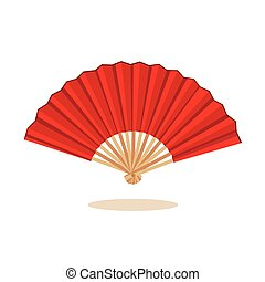 Chinese fan  color red  isolated on white background