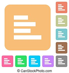 Text align left rounded square flat icons - Text align left...