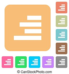 Text align right rounded square flat icons - Text align...