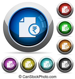 Indian Rupee financial report round glossy buttons - Indian...