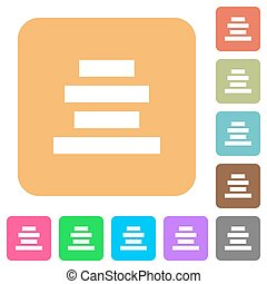 Text align center rounded square flat icons - Text align...