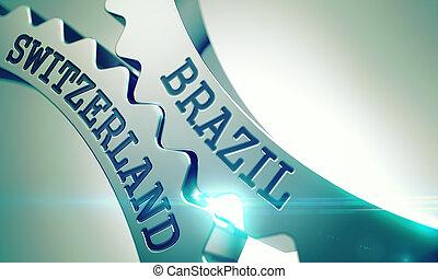 Brazil Switzerland on the Mechanism of Metal Cog Gears. 3d....