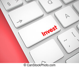 Invest - Inscription on the White Keyboard Button. 3D.