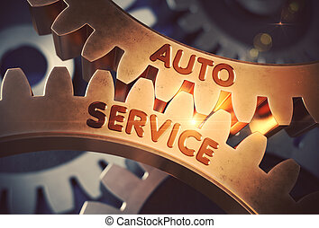 Golden Cog Gears with Auto Service Concept. 3D Illustration....