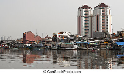 Old canal in Jakarta - Old canal full of boats in Jakarta...