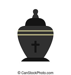 Urn icon, flat style - Urn icon in flat style isolated on...