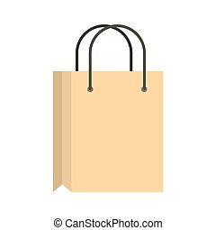 Shopping bag icon, flat style - Shopping bag icon in flat...