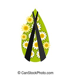Memorial wreath icon, flat style - Memorial wreath icon in...